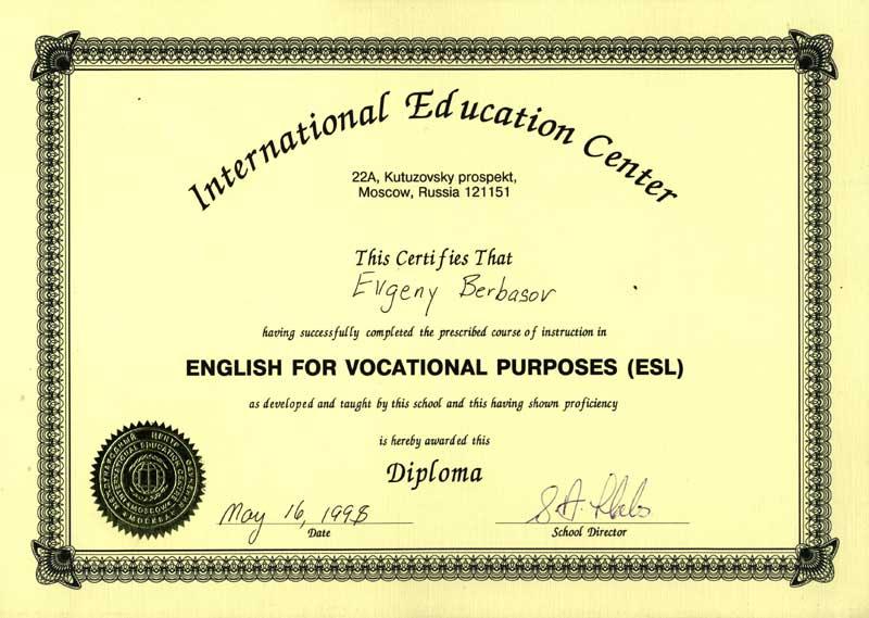 Diploma english for vocational purposes esl